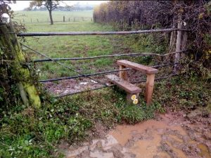 HO10 Metal Gate Stile near Shelwick Lane cleared of vegetation 24.11.19 (sorry – can't do anything about the mud!)