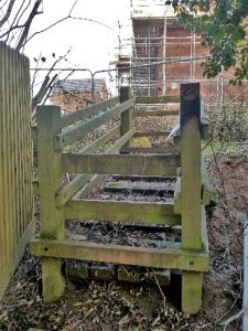 HO1 at Ayles Brook bridge - houses now up to the bridge on 05.01.20. path blocked off.